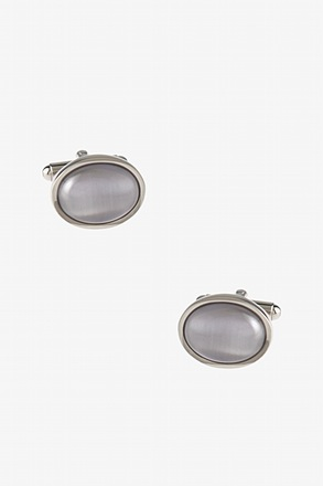 _Simple Oval White Cufflinks_
