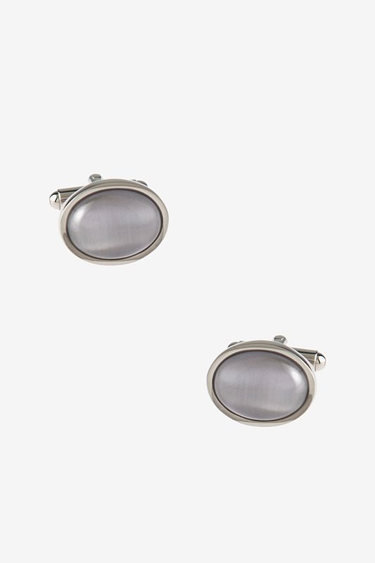 Simple Oval White Cufflinks Photo (0)