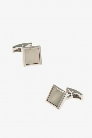 _Small Solid Square Frame White Cufflinks_