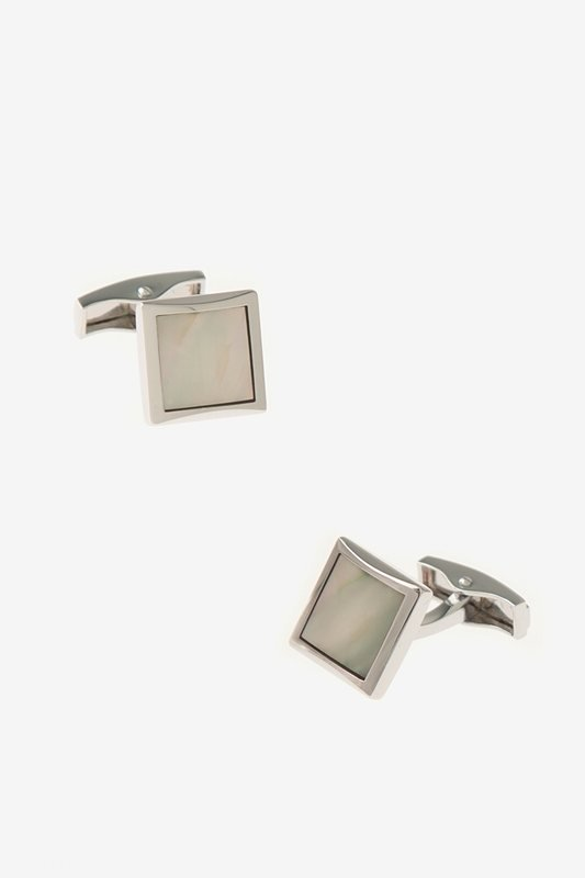 Small Solid Square Frame White Cufflinks Photo (0)