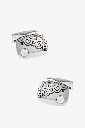 _Spiral Gem White Cufflinks_