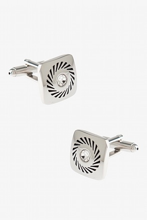 _Square Rhinestone Wheel Cufflinks_