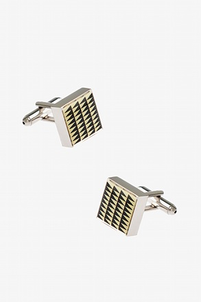 _Thick Patterned Square White Cufflinks_