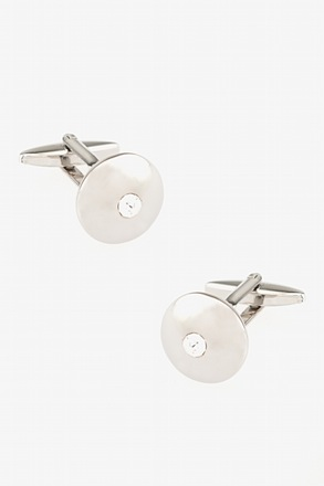 Wide Embellished Dome White Cufflinks
