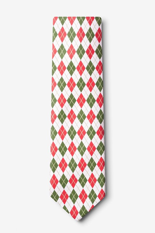 Christmas Argyle White Extra Long Tie Photo (1)