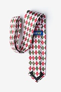 Christmas Argyle White Extra Long Tie Photo (2)