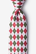 White Microfiber Christmas Argyle Extra Long Tie
