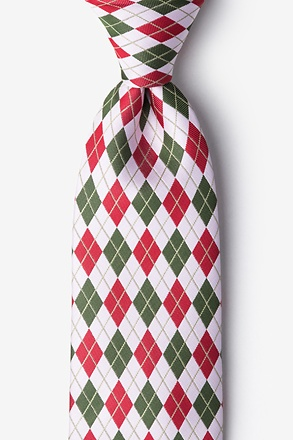 Christmas Argyle White Extra Long Tie