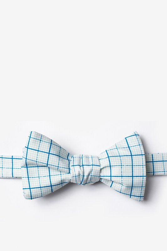 White Microfiber Graph Paper Butterfly Bow Tie | Ties.Com