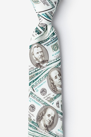 _US Currency White Tie For Boys_
