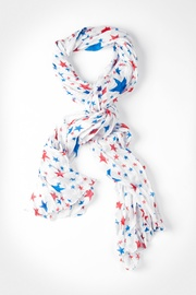 White Polyester Allover Stars Scarf