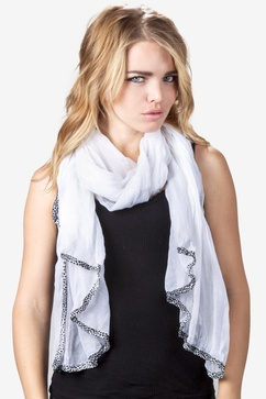 Animal Trim Solid White Scarf