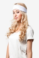 White Polyester Basic Stretchy Headband