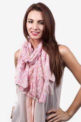 White Polyester Candy Hearts Scarf