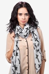White Polyester Cross Scarf