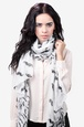 White Polyester Mustache Scarf
