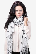 Mustache White Scarf by Scarves.com