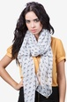 White Polyester Reindeer Scarf