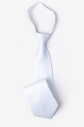 Solid White Zipper Tie