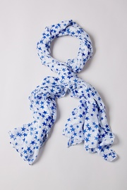 White Polyester Starry Night Scarf
