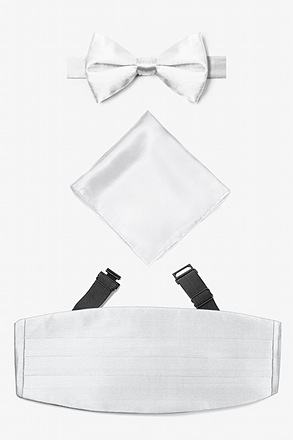 _Wedding Day White Pretied Bow Tie Cummerbund Set_