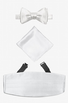 _Wedding Day White Self Tie Bow Tie Cummerbund Set_
