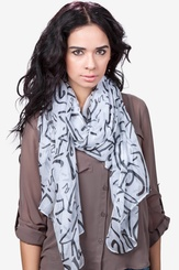 White Viscose What's Your Number Scarf
