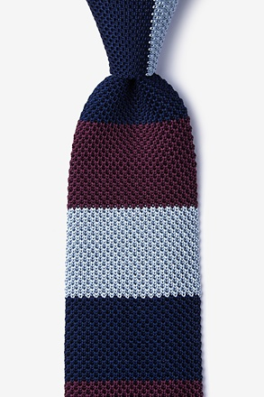 _Belgian Color Block Wine Knit Tie_