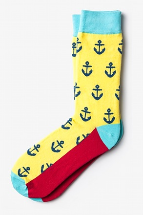 Large Anchor Yellow Sock