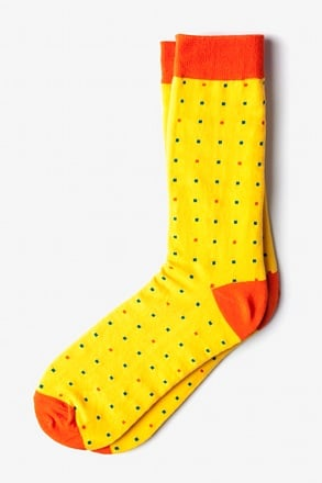 _Long Beach Dots Yellow Sock_