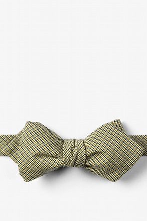 Yellow Andrew Plaid Diamond Tip Bow Tie