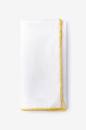 Yellow Edged Linen Pocket Square