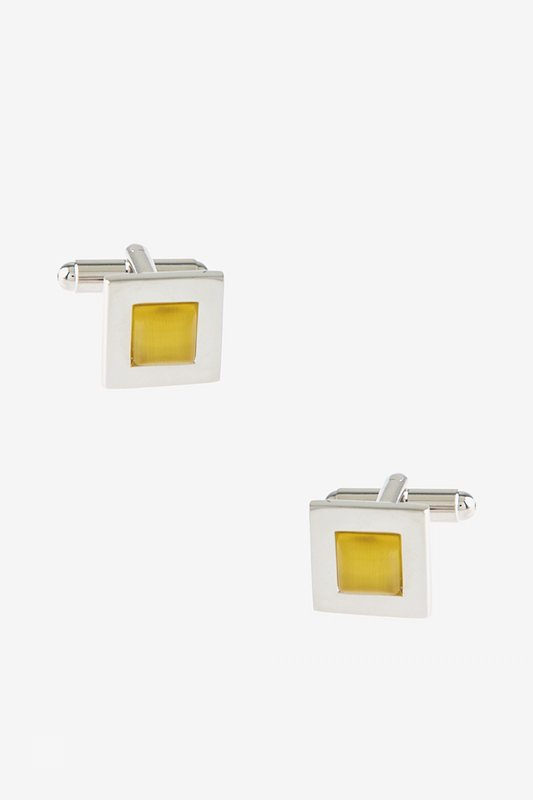 Yellow Metal Small Square Frame Cufflinks | Ties.com