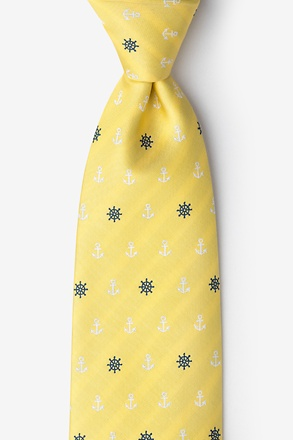 _Anchors & Ships Wheels Yellow Extra Long Tie_
