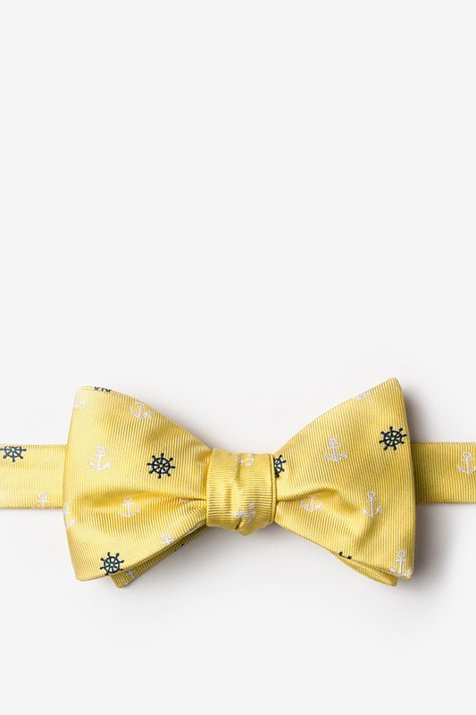 Anchors & Ships Wheels Yellow Self-Tie Bow Tie Photo (0)