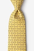 Yellow Microfiber Four Eyes Extra Long Tie