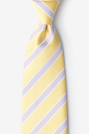 _Jefferson Stripe Yellow Extra Long Tie_