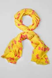 Yellow Polyester Bow Tied Scarf