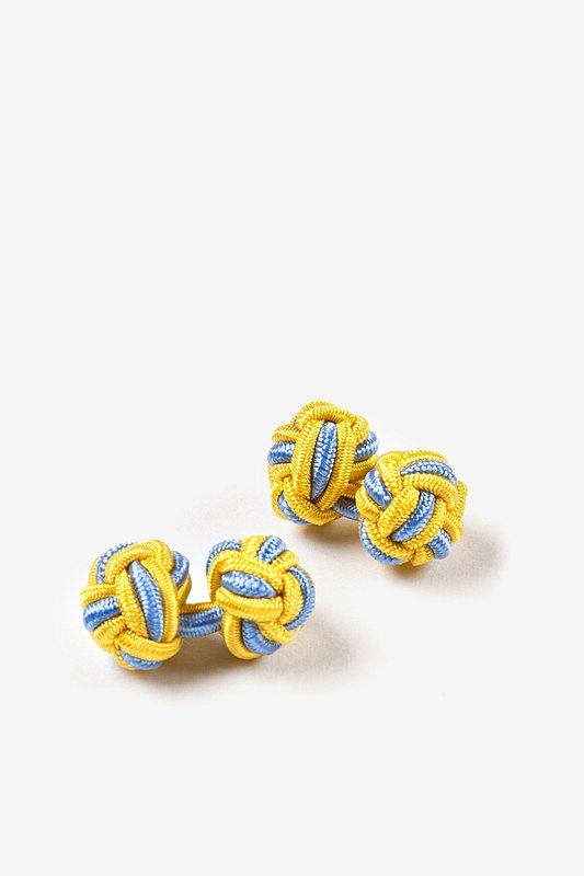 Yellow and Light Blue Knot Cufflinks
