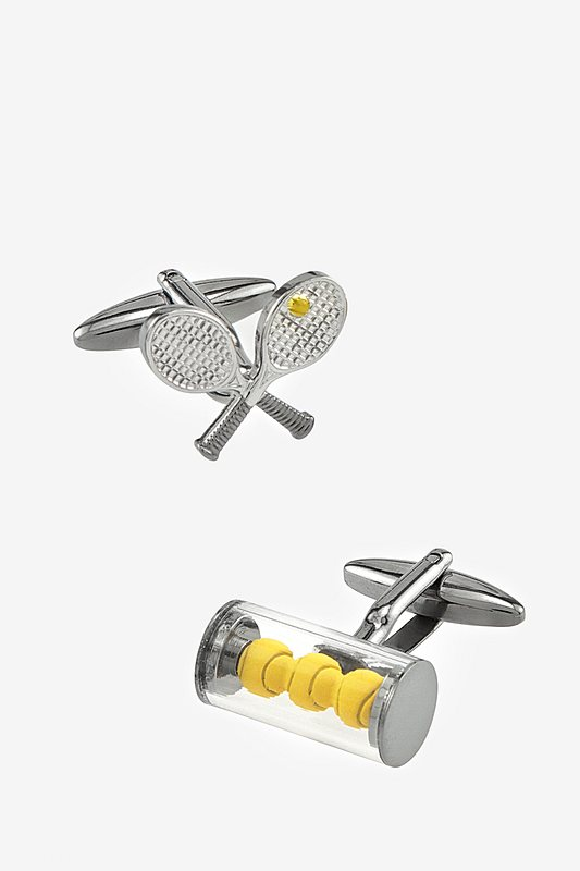 Tennis Balls & Racquets Yellow Cufflinks
