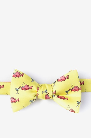 Drinks Like a Fish Yellow Self-Tie Bow Tie