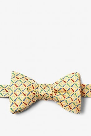 Golf Balls & Tees Yellow Self-Tie Bow Tie