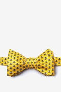 Yellow Silk Micro Bees Butterfly Bow Tie