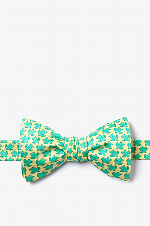 Micro Sea Turtles Yellow Self-Tie Bow Tie
