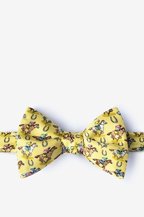 Pony Up Yellow Self-Tie Bow Tie