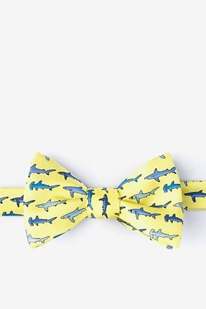 Shark Print Yellow Self-Tie Bow Tie