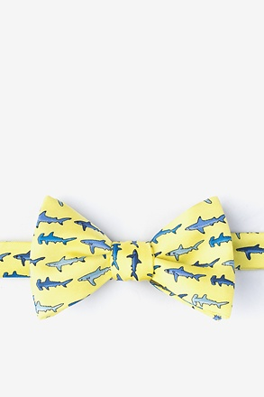Totally Jaw-some Yellow Self-Tie Bow Tie