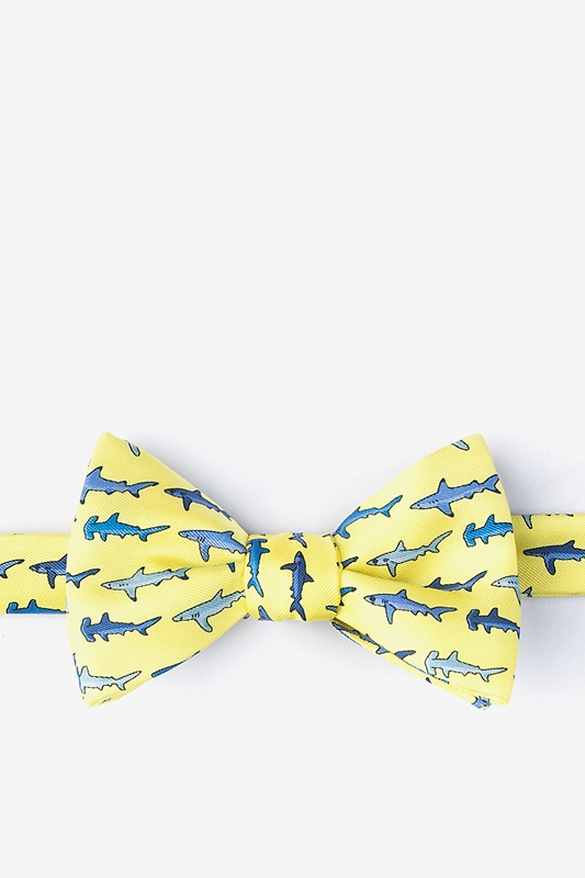 Totally Jaw-some Yellow Self-Tie Bow Tie Photo (0)