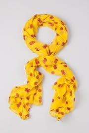Yellow Viscose Cherry Picking Scarf